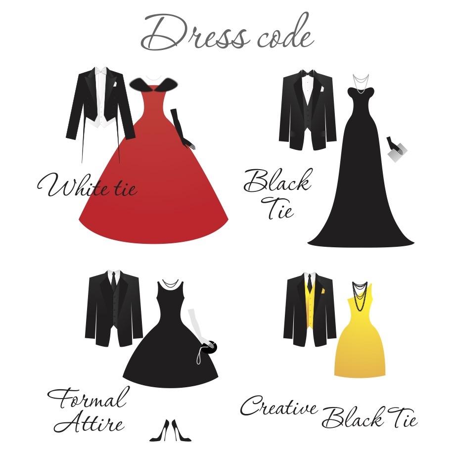 wedding dress codes white tie black tie formal creative black tie