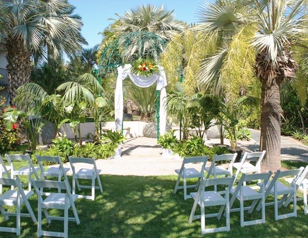 outdoor wedding ceremony setup at the garden gazebo at catamaran resort hotel and spa in san diego