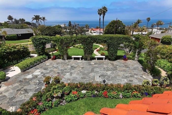 the garden area under a sunny sky at the thursday club in san diego