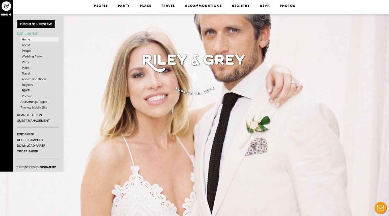 riley and grey wedding website