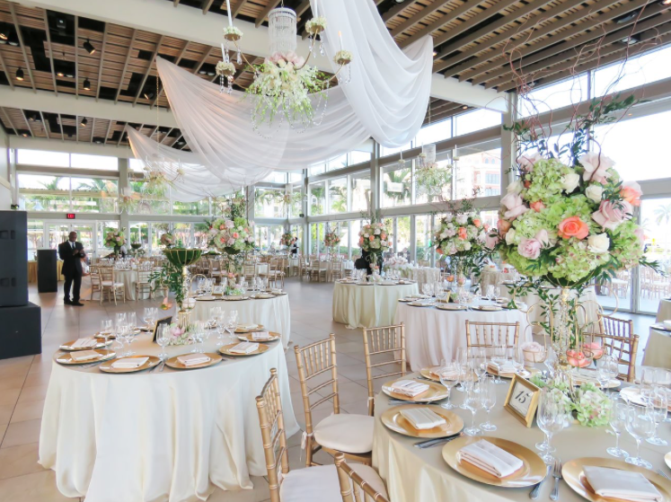 interior of West Palm Beach Lake Pavilion wedding venue set for a wedding reception in miami