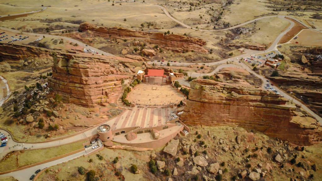 aerial view of red rocks amphitheater and a best place to propose in denver