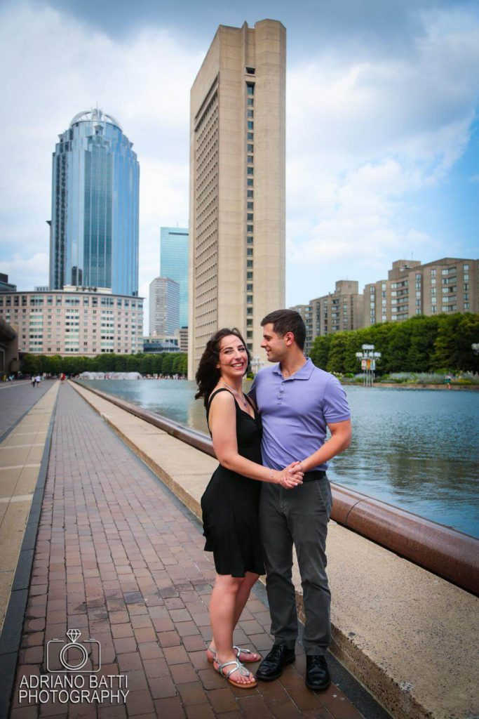 christian science plaza reflecting pool engagement photos boston