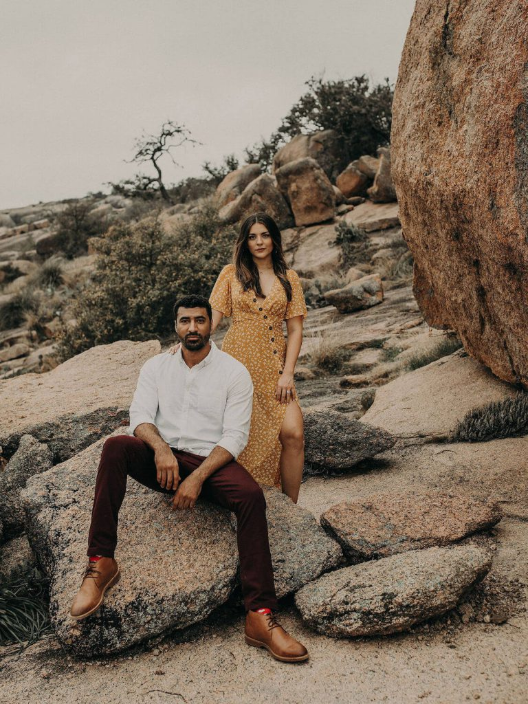 enchanted rock engagement photo austin