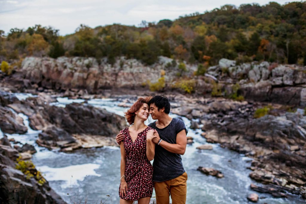 fit in running water summer engagement photo idea