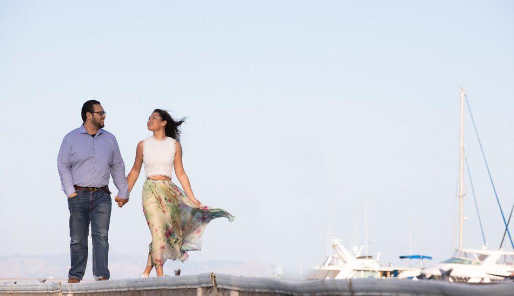 utilize a boat dock or marina summer engagement photo idea