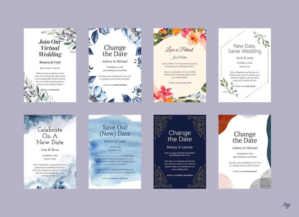 Image of several Change the Date e-card designs