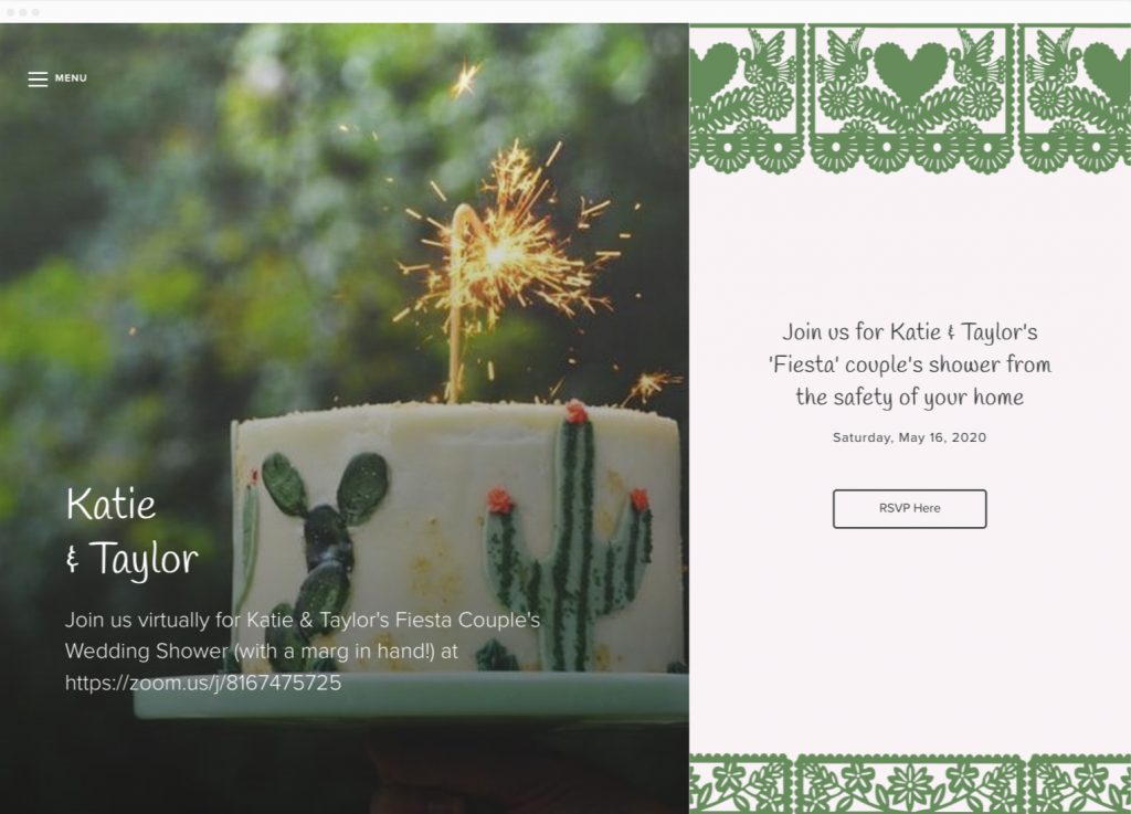 Image of virtual wedding shower website and RSVP