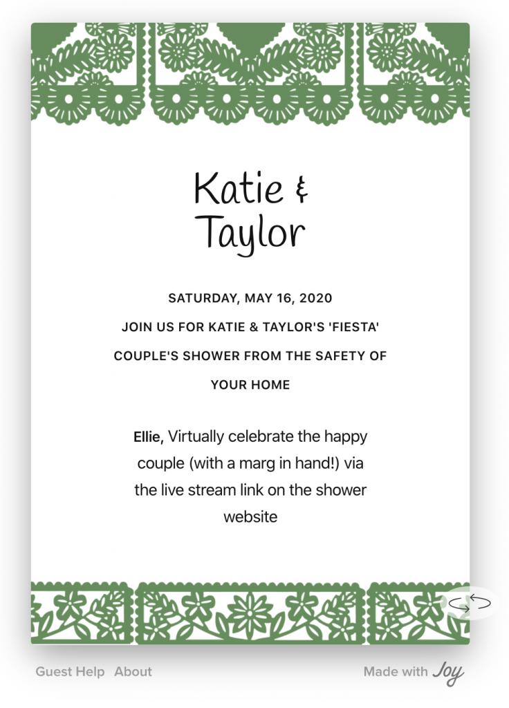 Image of digital wedding shower invitation