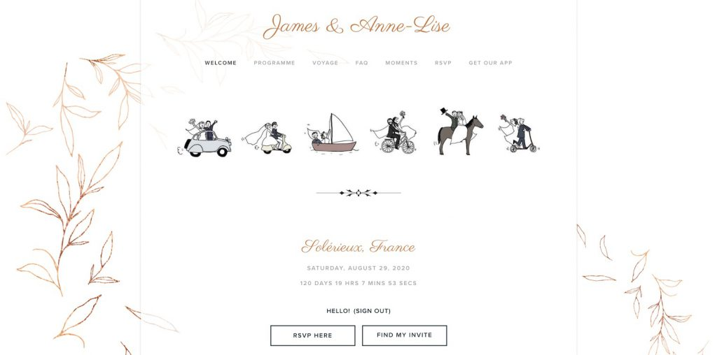 artistic wedding website example with drawings