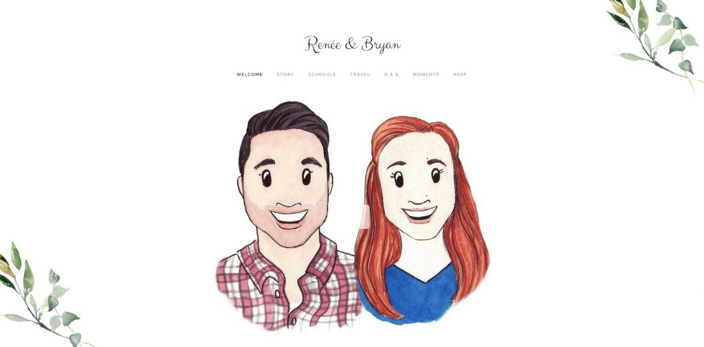 wedding website example with portraits