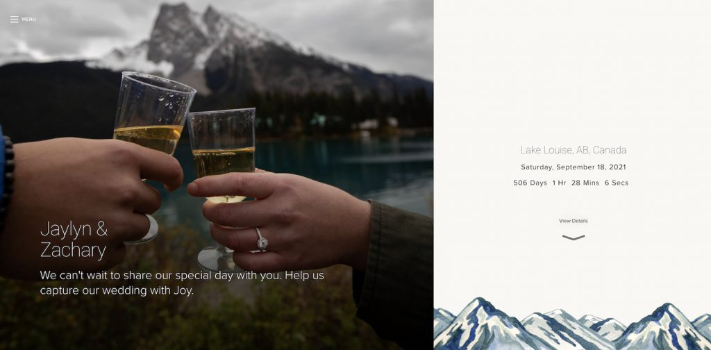 destination wedding website example