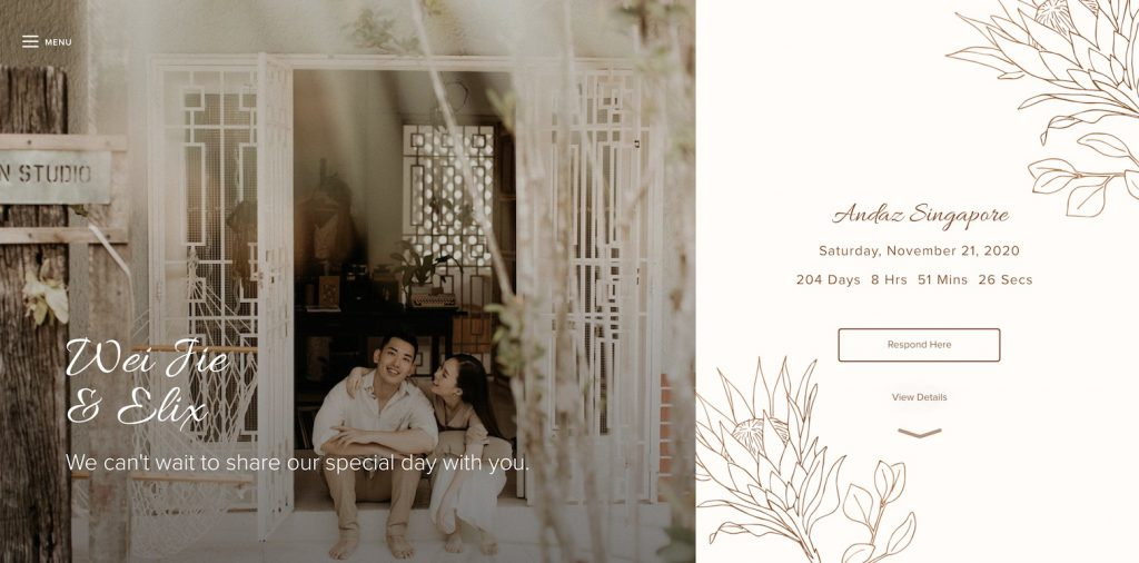 light and airy wedding website example natural color