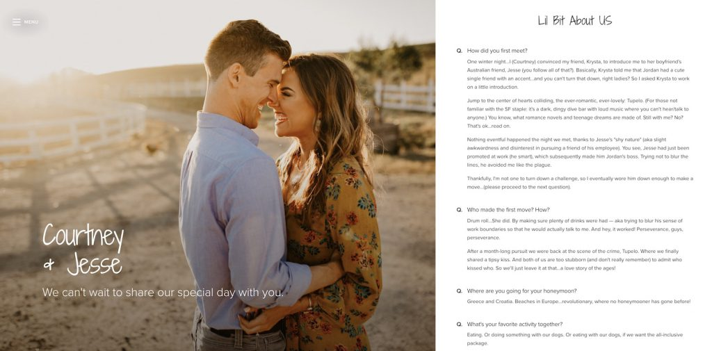 wedding website our story example