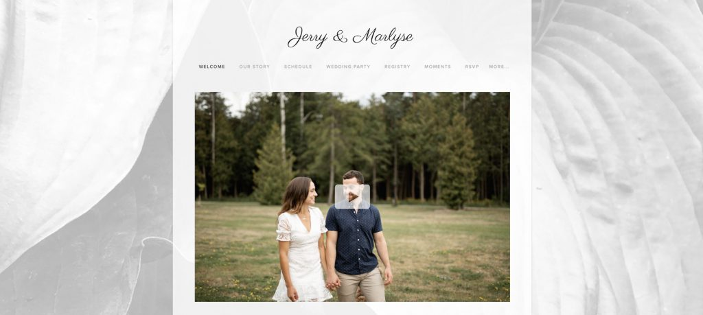 modern and minimalistic wedding website example