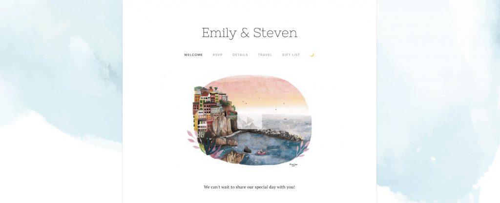 pastel watercolor wedding website example