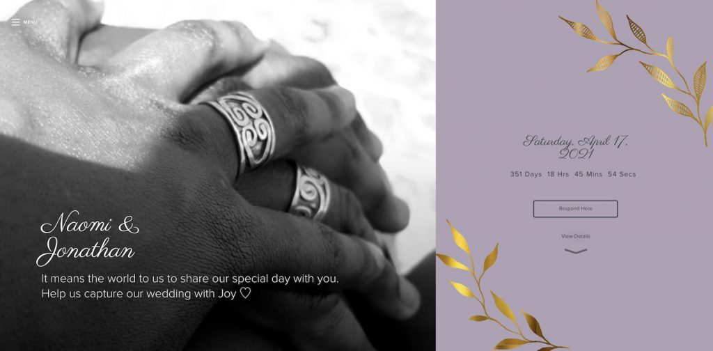 wedding website example with wedding rings