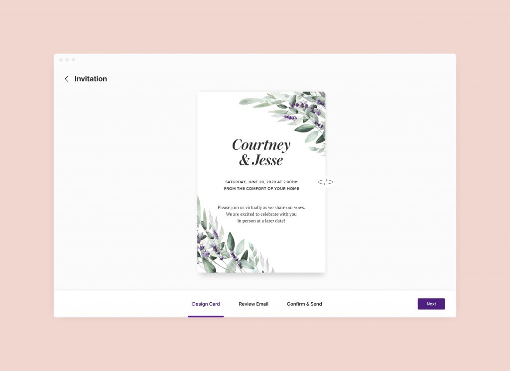 Image of wedding invitation e-card with wedding live stream information