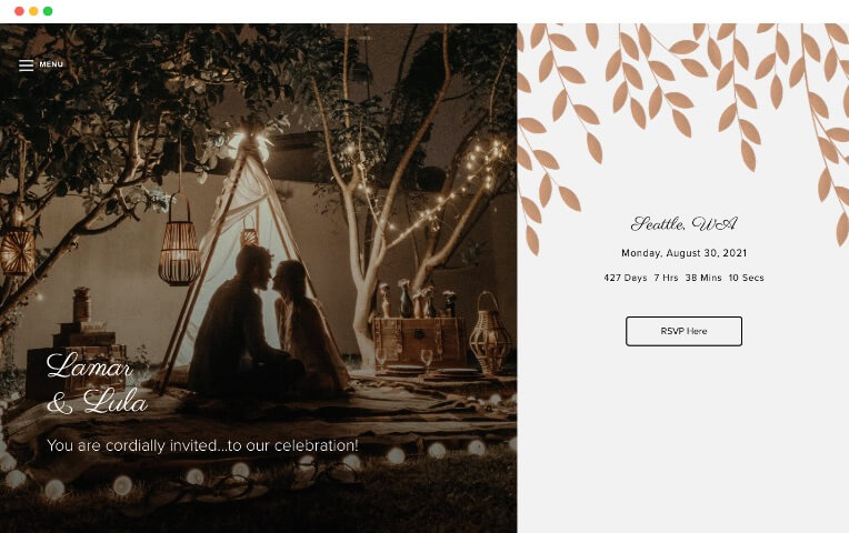 bronzed leaves winter wedding website templates