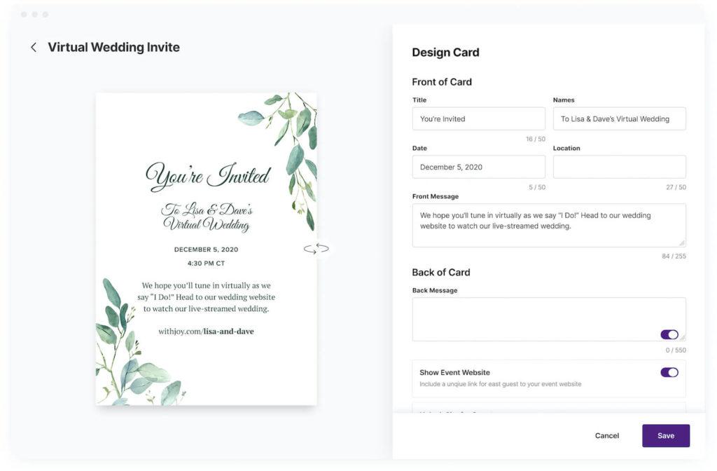 virtual wedding invitation editor