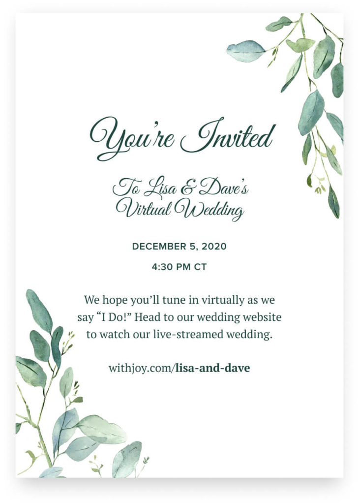 virtual wedding invitation example