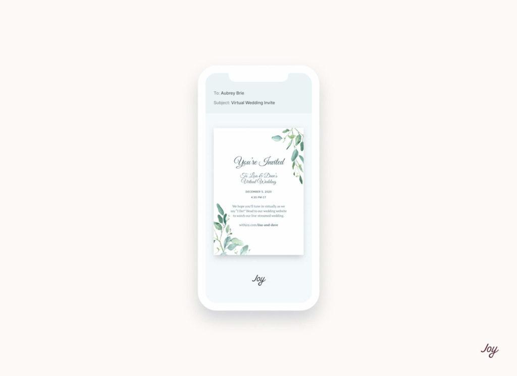 digital wedding invitation on mobile
