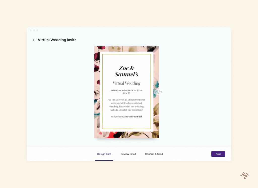 online invitation to virtual wedding