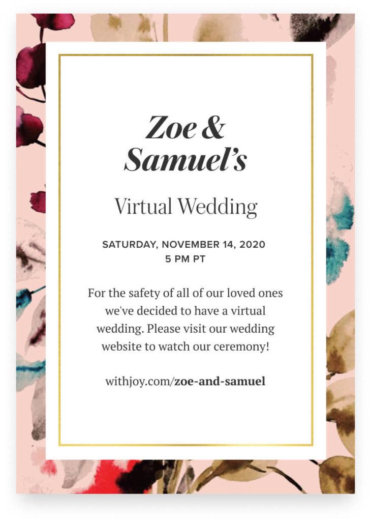 virtual wedding invite example