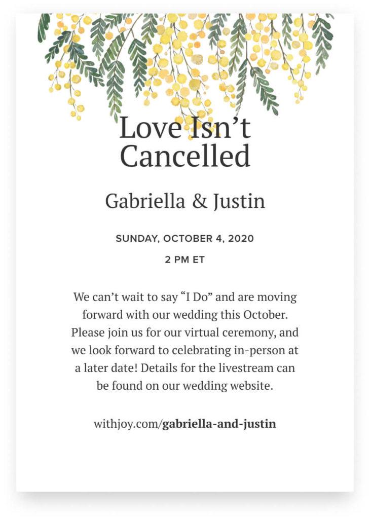 invitation example for virtual wedding