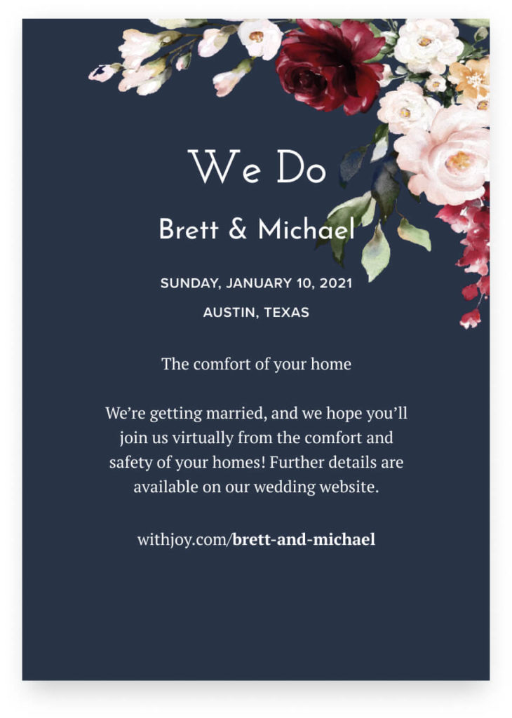 wedding invitation virtual wedding