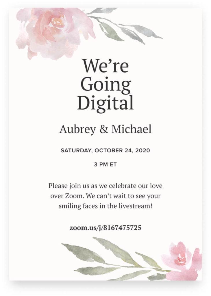 digital invitation for virtual wedding