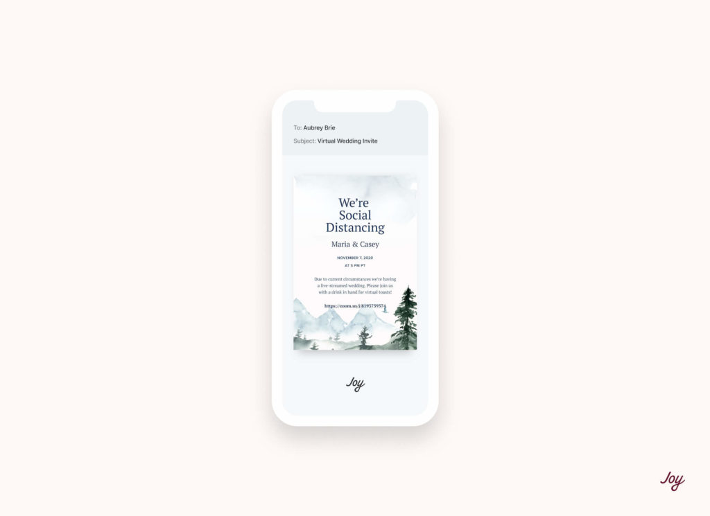 virtual wedding invite on mobile
