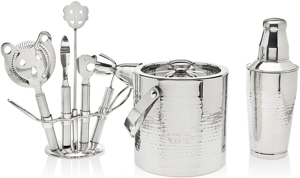 Godinger Silver Art 8 Piece Hammered Stainless Steel Cocktail Bar Set - 1 Shaker, 1 Ice Bucket and 5 Tools on Stand best barware for wedding registry
