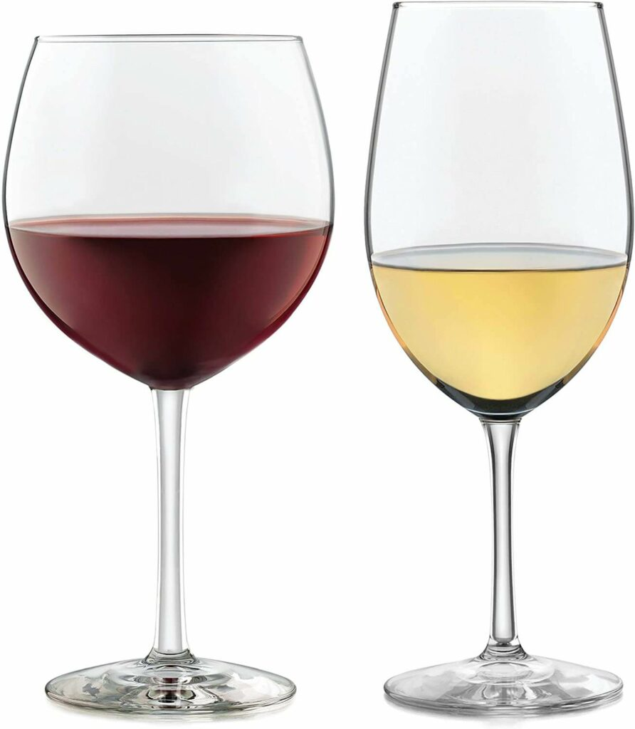 Libbey Vineyard Reserve 12-Piece Wine Glass Party Set for Chardonnay and Merlot/Bordeaux, Vineyard Collection best barware for wedding registry