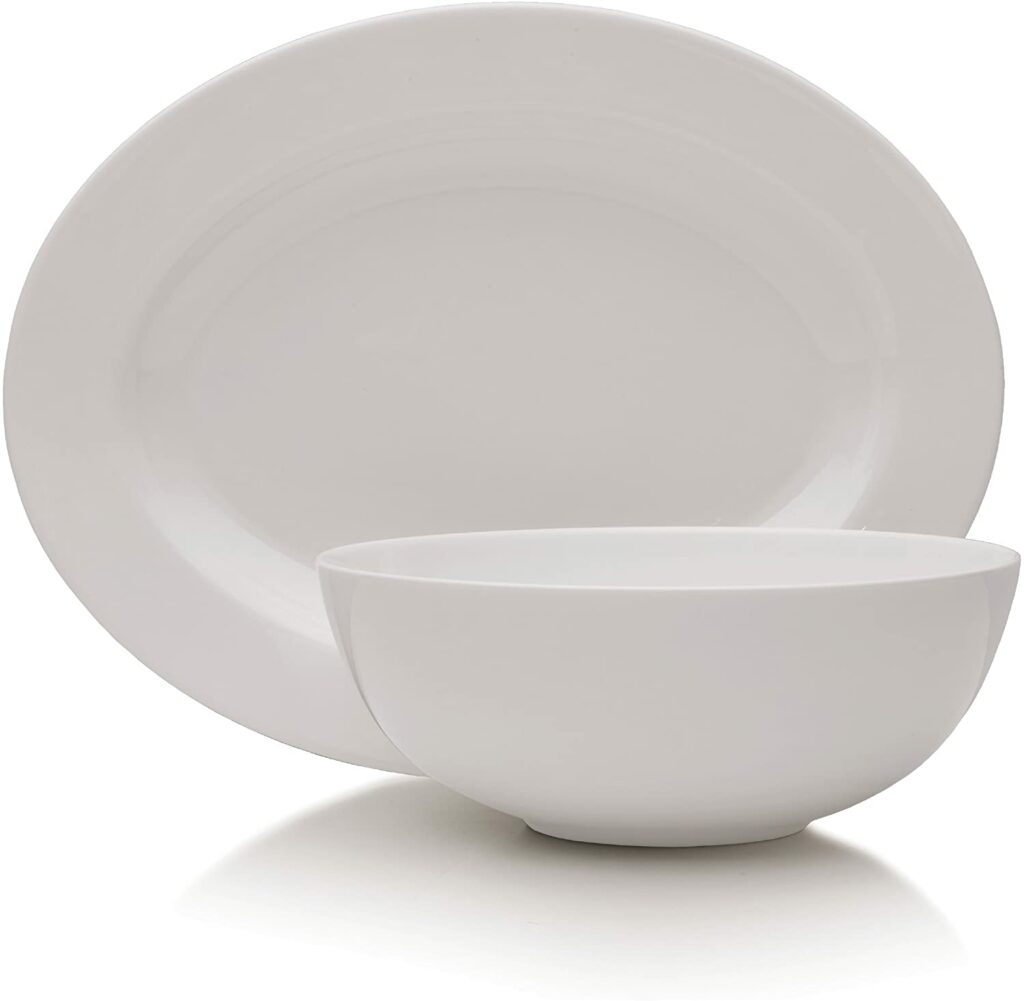 Mikasa Delray 14-Inch Oval Platter and 9-Inch Vegetable Bowl Set best serveware for wedding registry