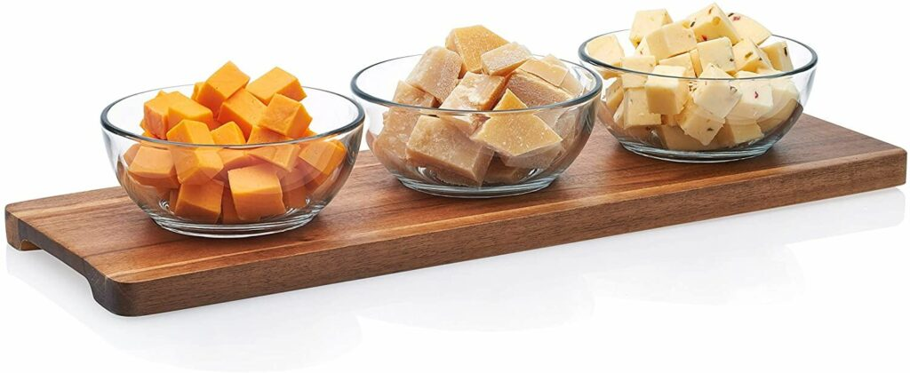 Libbey Acaciawood 3-Piece Glass Condiment Dish Set with Wood Serving Board best serveware for wedding registry