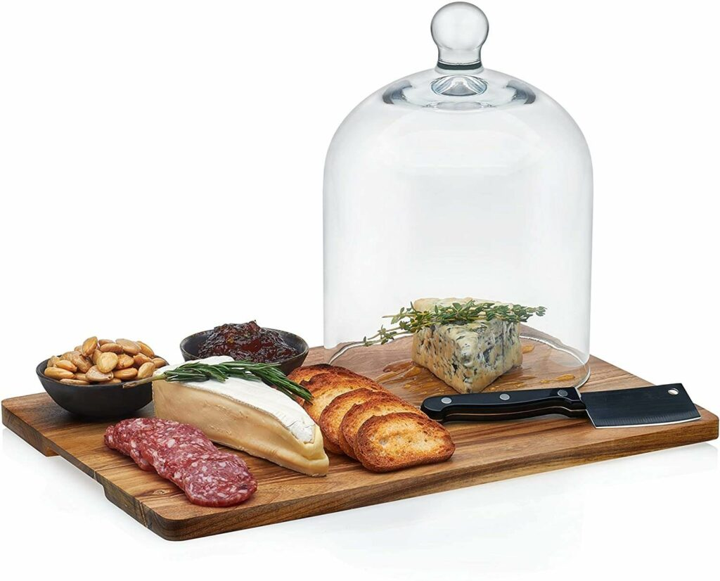 Libbey Acaciawood 4-Piece Cheese Board Serving Set with Glass Dome best serveware for wedding registry