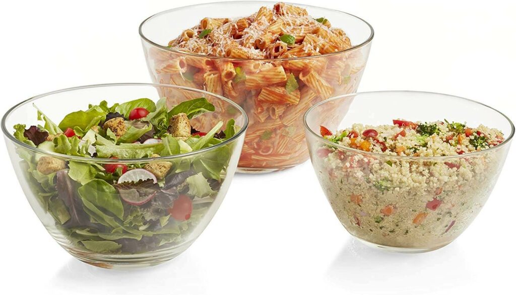 Libbey Urban Story 3-Piece Multi-Size Glass Serving Bowl Set best serveware for wedding registry
