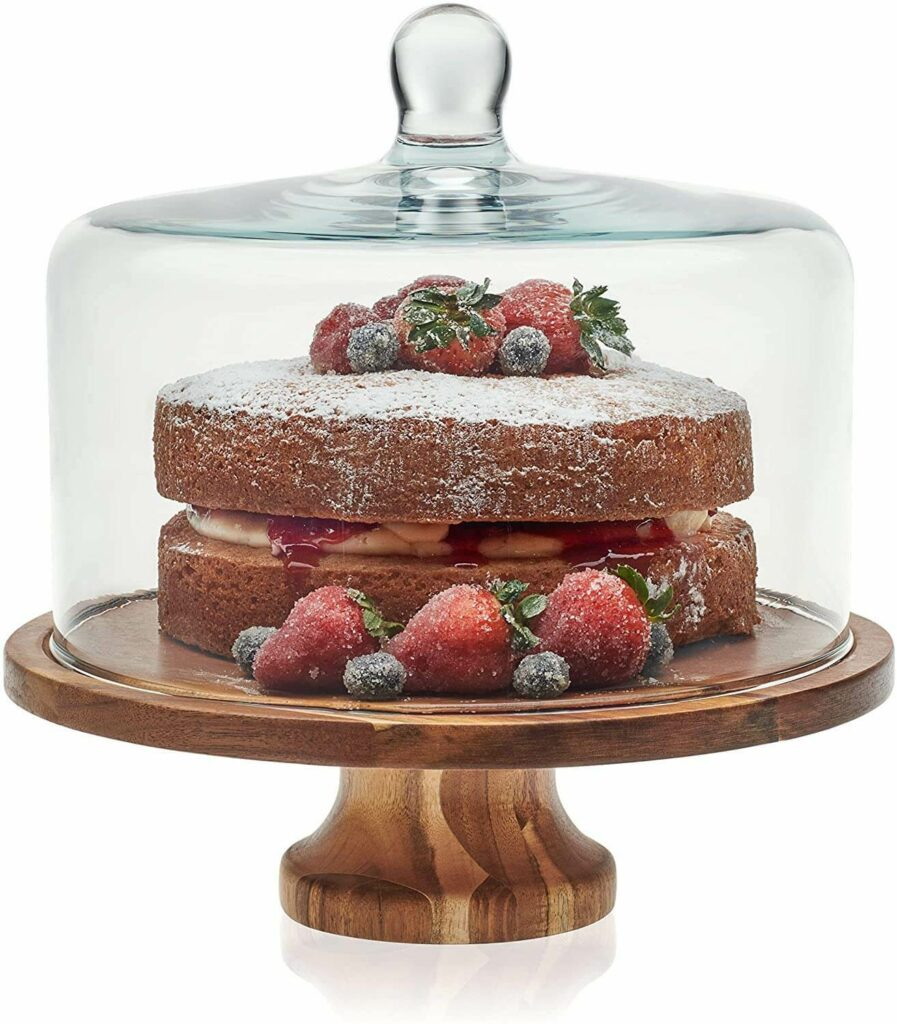 Libbey Acaciawood Footed Round Wood Server Cake Stand with Glass Dome best serveware for wedding registry
