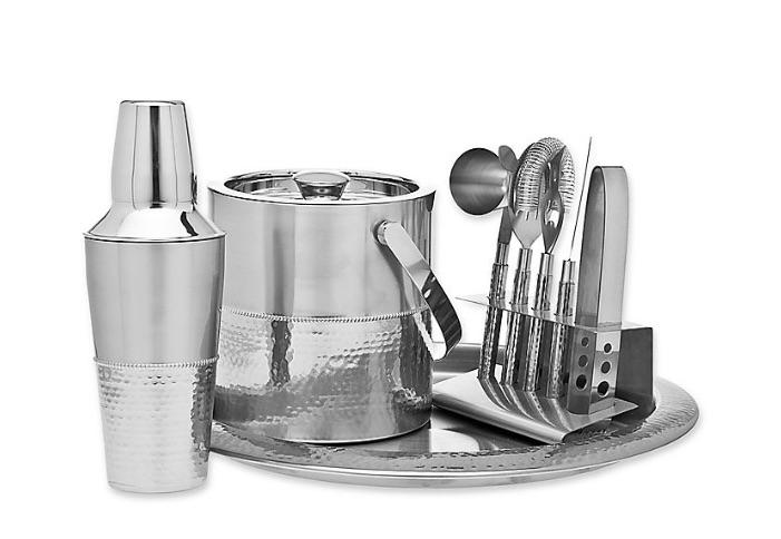 wedding registry ideas godinger 9-piece hammered barware set