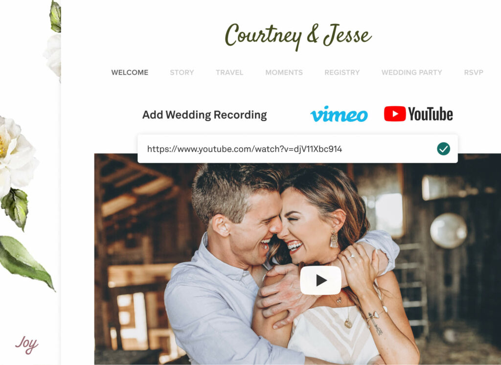 Virtual Wedding website with virtual event link