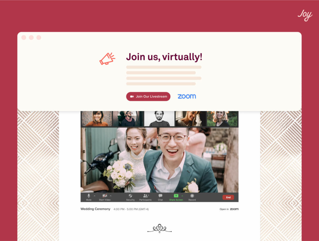 wedding website announcement banner