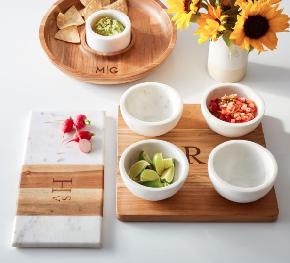 Wood and Marble Chip and Dip Set
