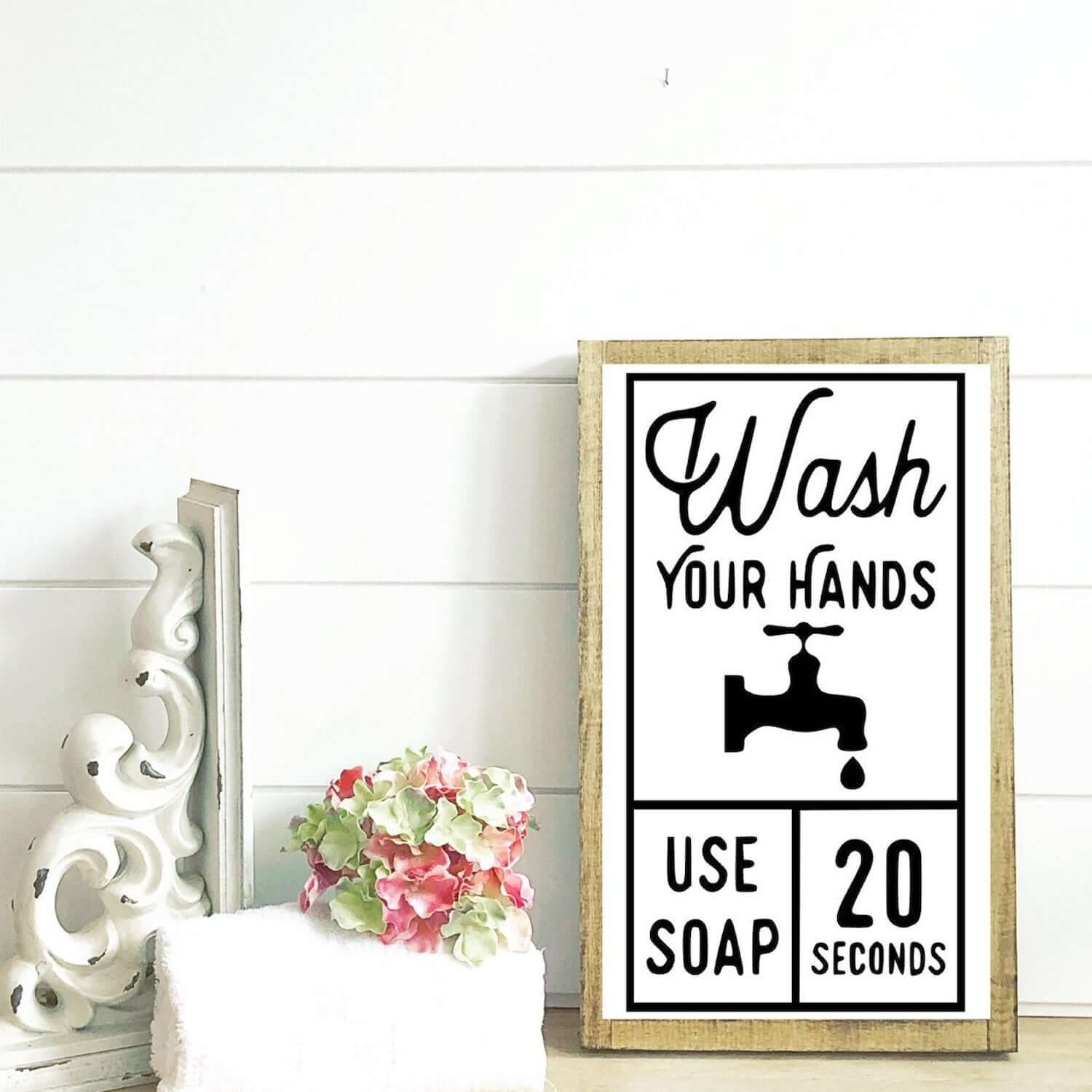 a charming wash your hands reminder