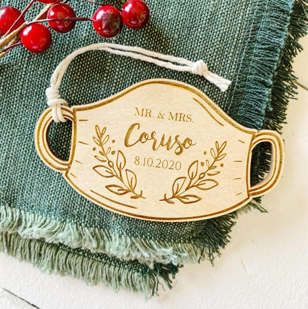 engraved christmas ornaments wedding favors covid-19