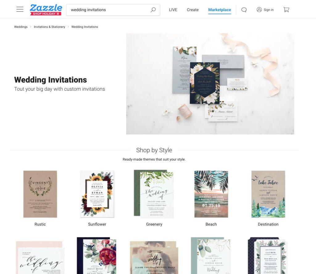 zazzle wedding invitations