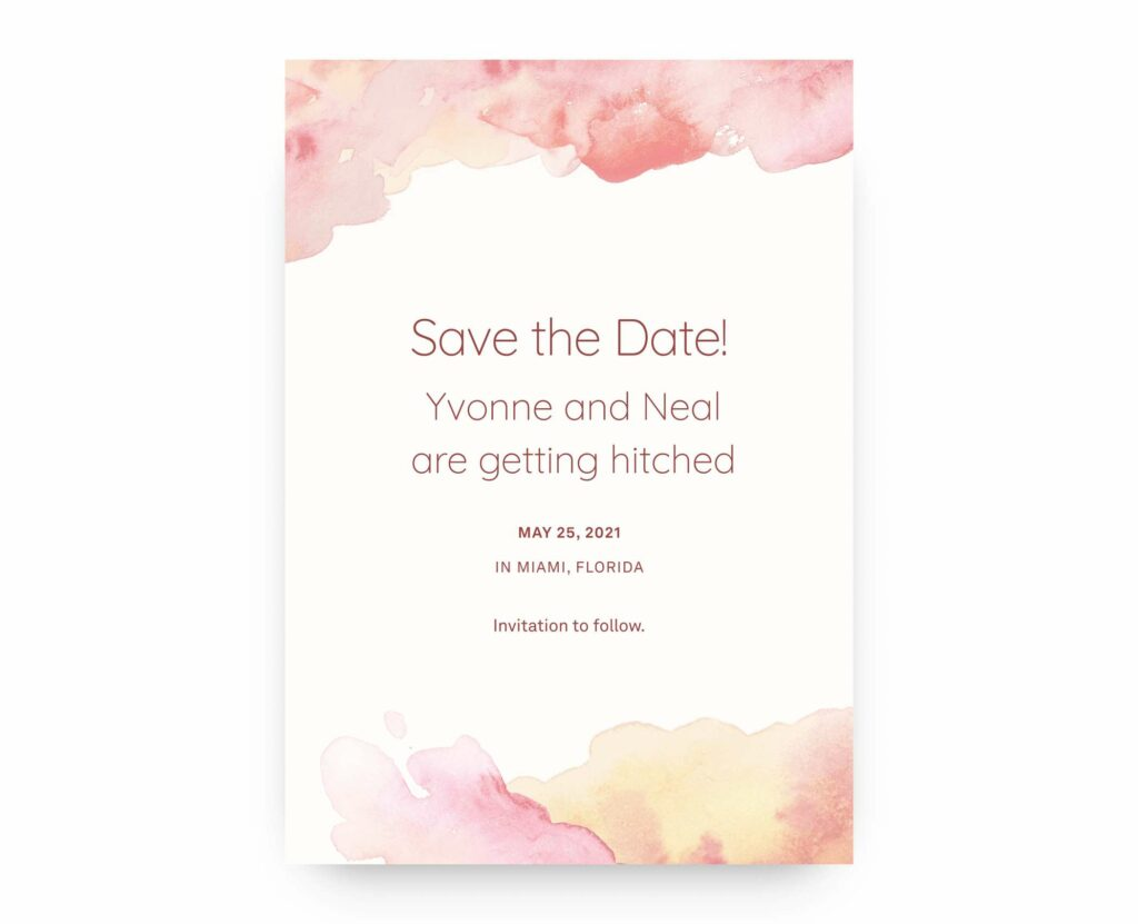 example Save the Date with casual wording