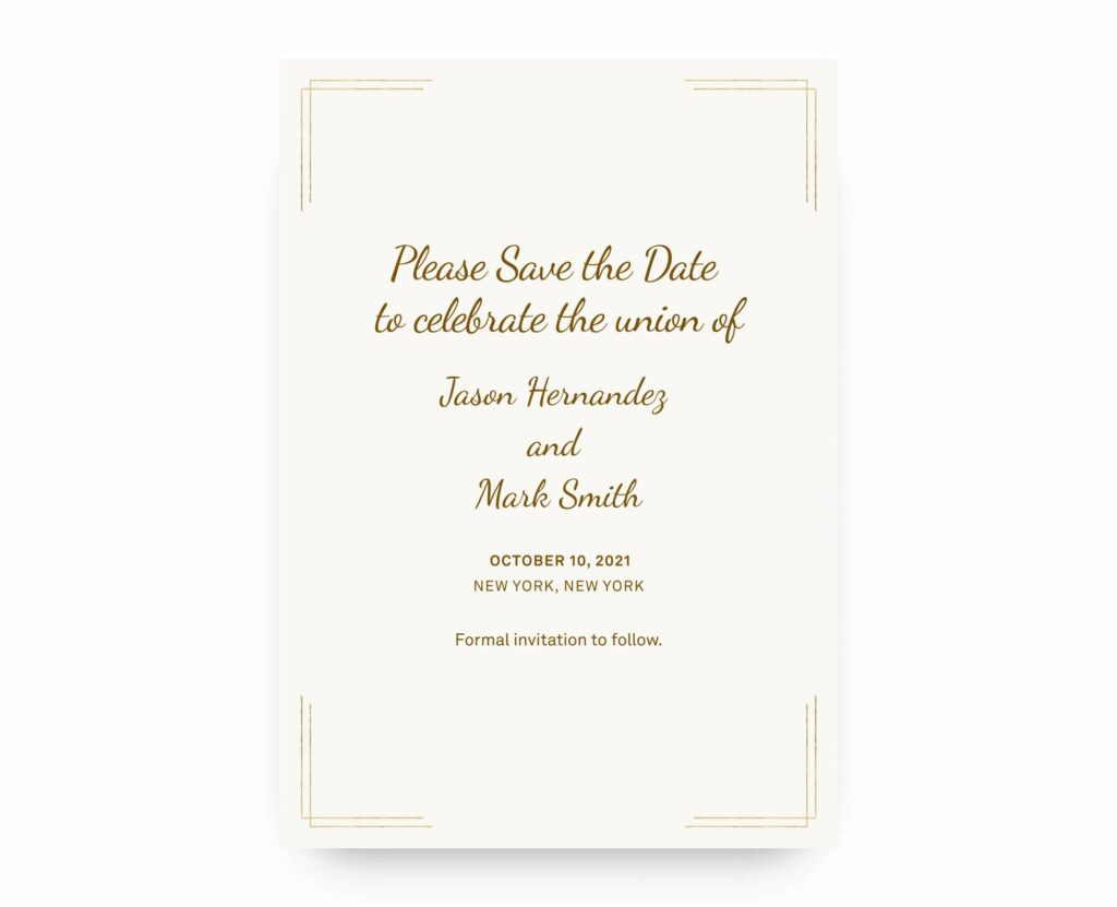 example Save the Date with traditional wording
