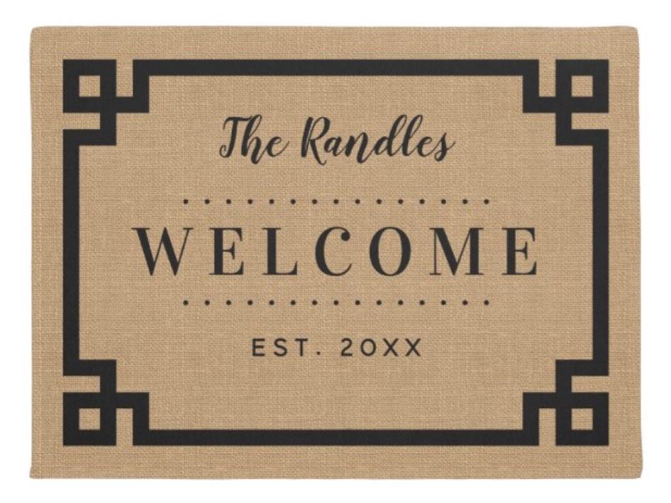 Farmhouse Greek Key Family Monogram Doormat bridal shower gift ideas