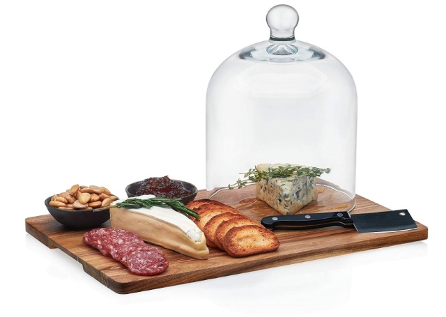 Libbey Acaciawood 4-Piece Cheese Board Serving Set with Glass Dome bridal shower gift ideas
